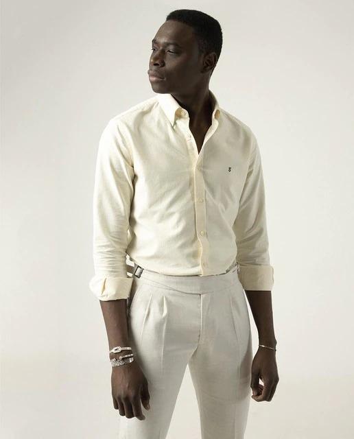 Camisa de hombre slim de rayas en amarillo