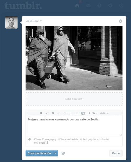 Opciones de publicar foto en tumblr