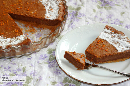Receta de tarta de queso y chocolate con ralladura de naranja