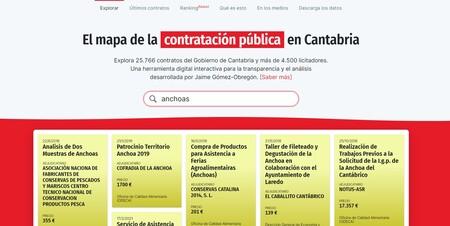 La web sobre el mapa de la contratación pública en Cantabria creada por Jaime Gómez-Obregón