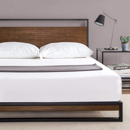 Metal and wood bed base