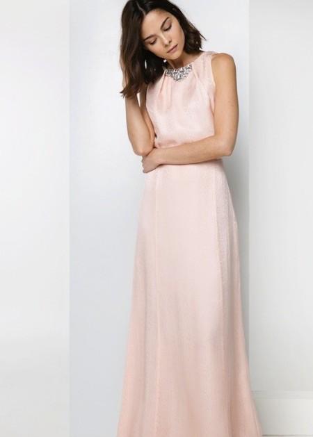 vestido largo de seda rosa Mango