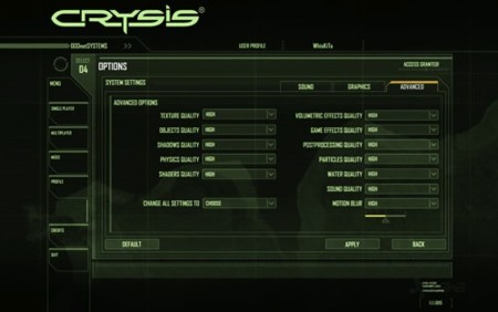 Crysis specs