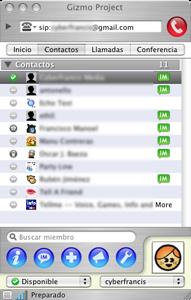 Lista de amigos en Gizmproject