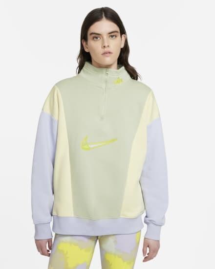 Camiseta De Tejido Fleece Y Cremallera De 1 4 Mujer