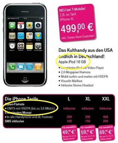 ¿iPhone 3G y con 16GB en Alemania, distribuido por T-Mobile?