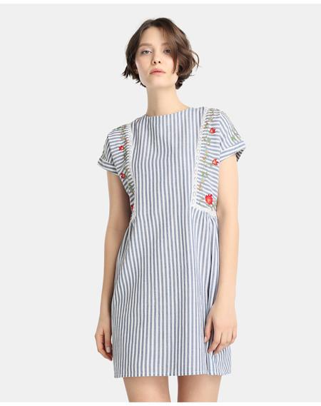Vestido Rayas Y Bordados Unit Moda Hipercor