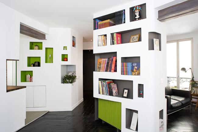 Apartamento parisino - estanterías