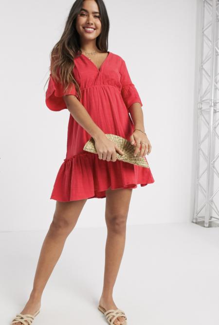 Vestido Corto Amplio En Diseno Escalonado Rojo Lovers Wish De Billabong X Sincerely Jules