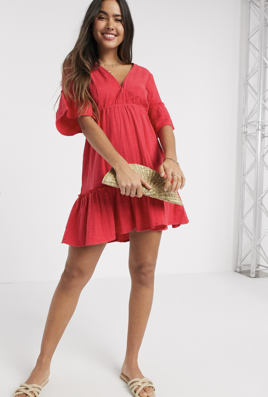 Vestido corto amplio en diseño escalonado rojo Lovers Wish de Billabong X Sincerely Jules
