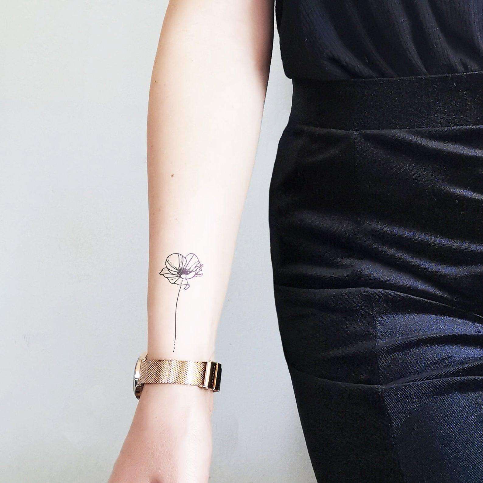 Amapola de línea fina - Tatuaje temporal floral (conjunto de 2)