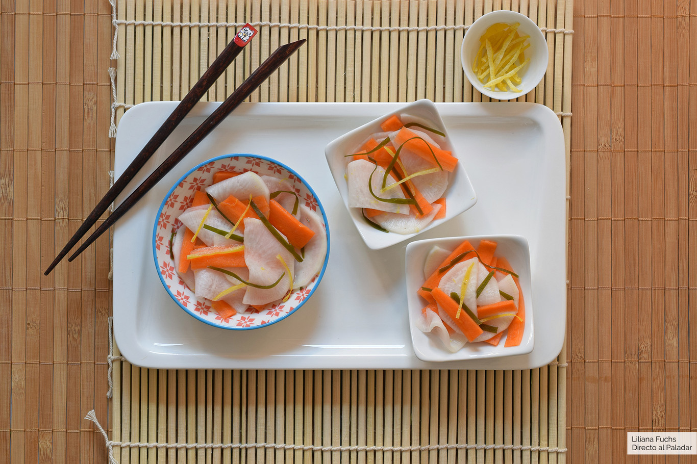 Namasu de zanahoria y nabo: receta japonesa tradicional de ensalada de encurtidos, muy fácil y refrescante
