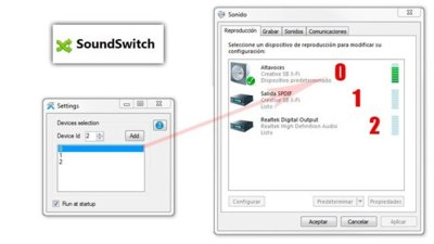 SoundSwitch cambia rápidamente de dispositivo de reproducción en Windows