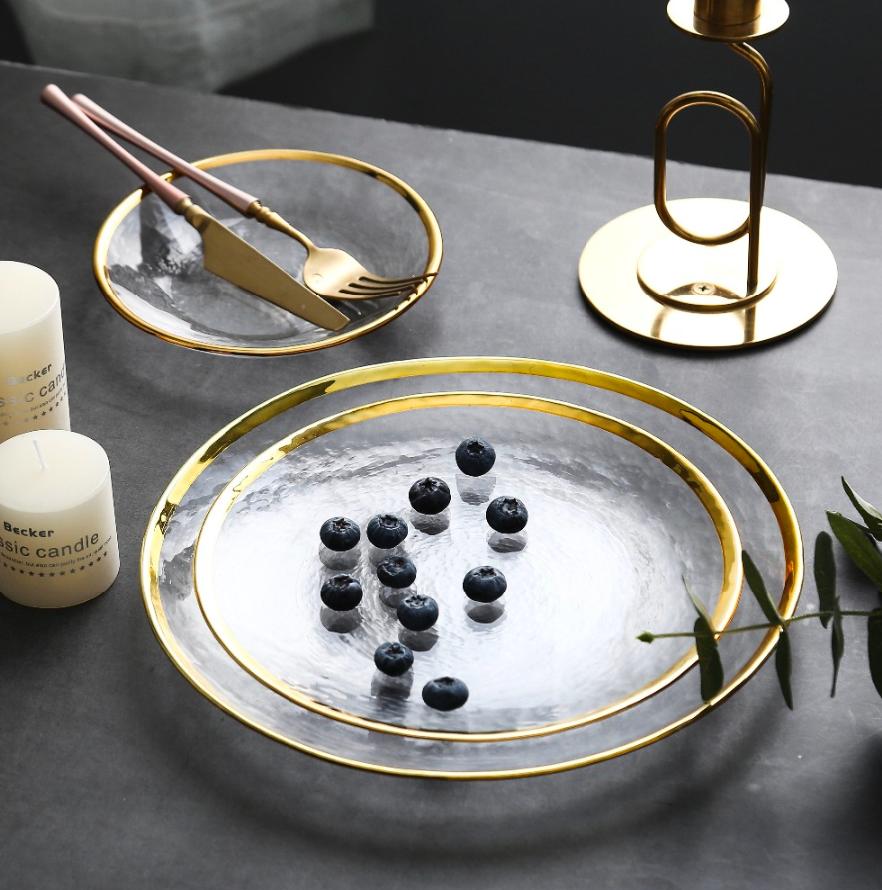 1 Pza/lote platos incrustados de oro de cristal europeo dorados a mano plato de carne plato de sopa para ensaladas juego de vajilla de decoración para eventos de fiesta