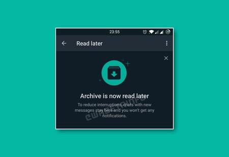 Llega 'Leer después' a WhatsApp, la función que sustituye a los chats archivados y silencia automáticamente esas conversaciones