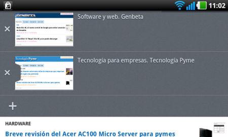 Firefox 14 para Android, gestión de pestañas