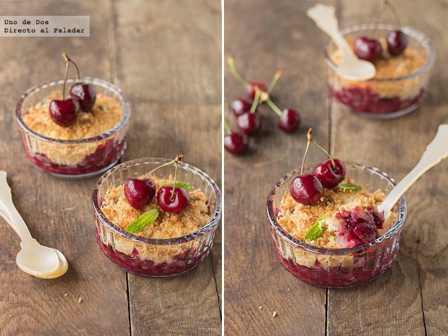 Crumble de cerezas, receta de postre con aires británicos