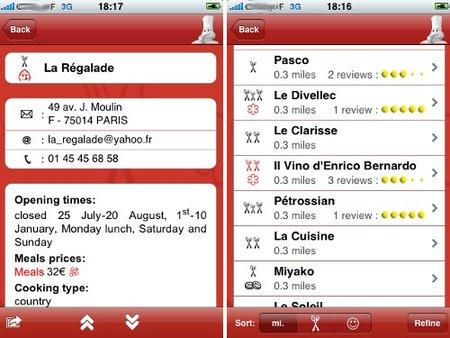 Imagenes de la Guía Michelín Europa 2009 en el Iphone