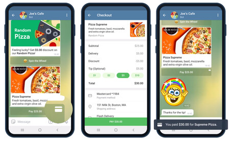Telegram mejora sus pagos integrados permitiendo el uso de tarjetas bancarias en cualquier tipo de chat y casi todo el mundo