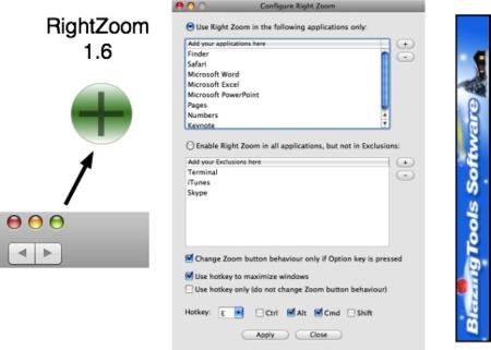 RightZoom, convierte el botón Zoom (verde) en maximizar
