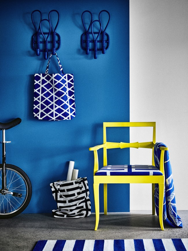 Ikea Coleccion Avsiktlig 2017 Ph141895 Colgador 3 Ganchos Acero Ratan Lacado Bolsa Tela Precortada Colcha Manta Hoja Azul Lowres