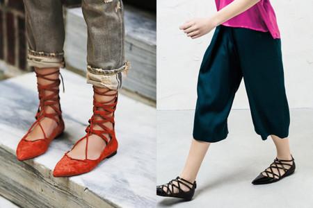Lace Up Flats Bailarinas Cordones Gladiadoras Zapatos 2015 2