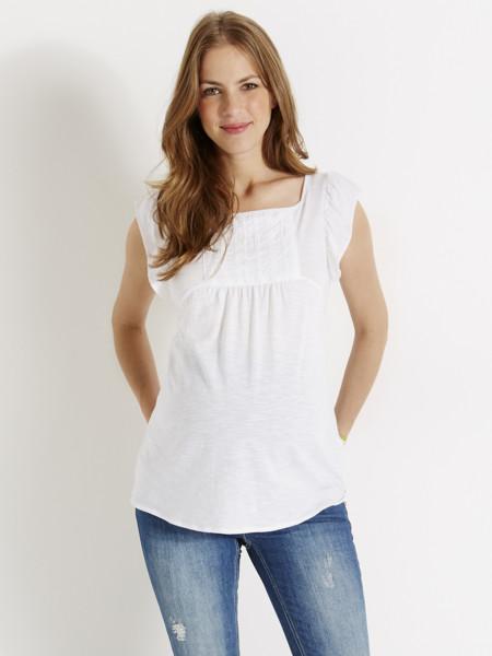 Camiseta Premama Blanca Volante