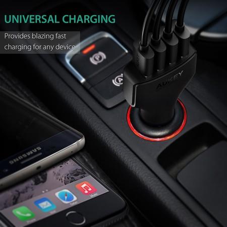 Cargador Aukey para coche, con 4 puertos USB y Quick Charge 3.0, por sólo 5,99 euros en Amazon con este cupón