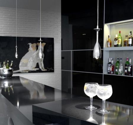En tiempo de celebraciones, Brindis, lámparas inspiradas en copas de champán