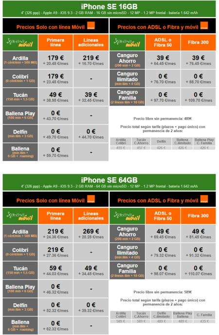 Precios Iphone Se Con Tarifas Orange