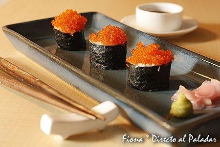 Receta de maki sushi de huevas de pez volador