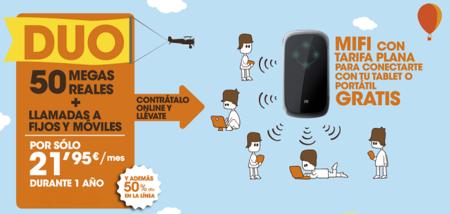 Euskaltel pone a mitad de precio durante un año sus 50 Mb y regala una conexión móvil con módem MiFi incluido
