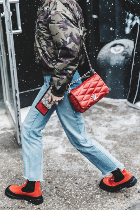 Nyfw New York Fashion Week Fall Winter 17 Street Style Pernille Teisbaek Military Trend Bomber Vetements Jeans Rainy Boots Red Bag 2