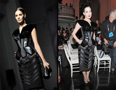 Dita Von Teese en el front row de Jean Paul Gaultier en la Semana de la Moda de París