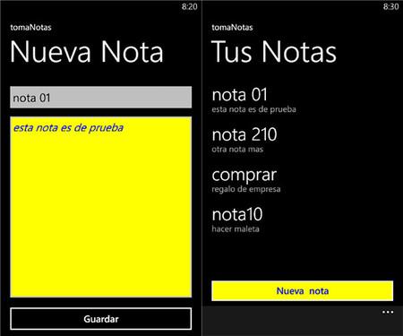 tomaNotas app