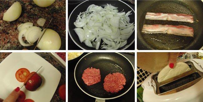 Hamburguesa con cebolla confitada en pan de pita