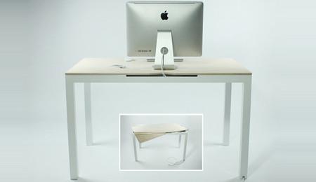 Tambour, la mesa que esconde enchufes y cables con elegancia
