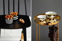 Negro, blanco y dorado, elegante combinación de tendencia en complementos cerámicos