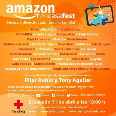 Amazon y Cruz Roja se unen en la lucha contra el COVID-19 con el #AmazonEnCasaFest, un festival de música con artistas para todas las edades