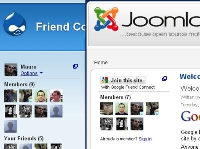 Google Friend Connect se amplía y ofrece soporte para Joomla y Drupal