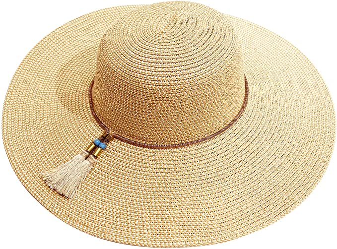 accsa Sombrero de Paja para Mujer Ajustable Pamelas de Playa con ala Ancha Sombrero de el Sol para Playa Plegable Sombreros para Verano Anti-UV para Viajes al Jardín