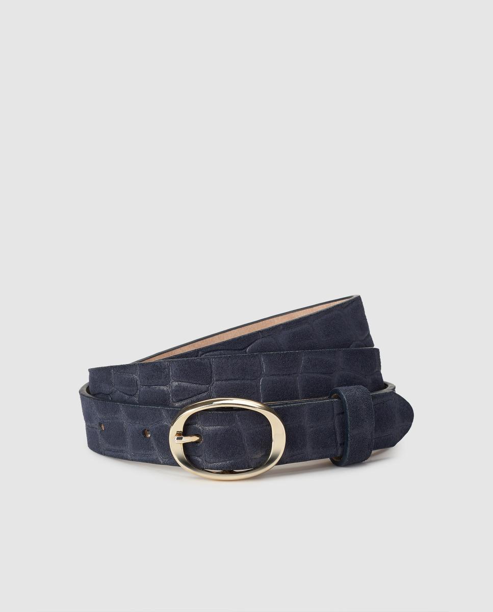 Cinturón de mujer El Corte Inglés de piel napa en azul marino con grabado coco
