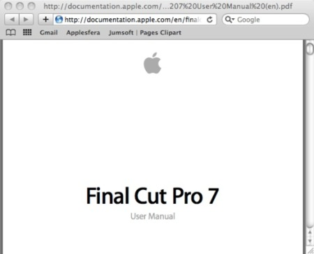Descarga el manual de Final Cut Pro 7 en pdf desde la web de Apple
