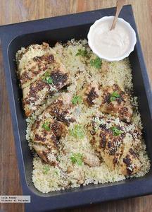 Pollo asado con dukkah y cus-cus. Receta