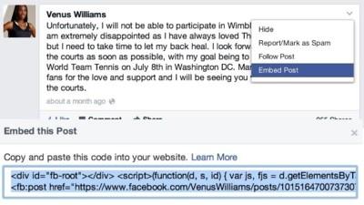 El contenido público que aparezca en Facebook podrá ser insertado en cualquier sitio