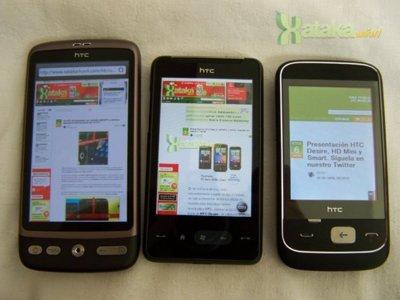 Los HTC Desire, HD Mini y Smart, listos para la subasta con las operadoras