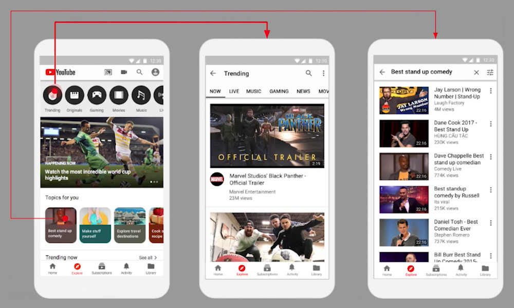 """YouTube for Android begins to test the tab """"Explore"""", this"""