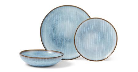 Vajilla De 12 Piezas De Esmalte Reactivo Tulln Azul Y Blanco
