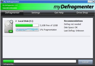 myDefragmenter, una sencilla utilidad para mantener desfragmentados nuestros discos duros