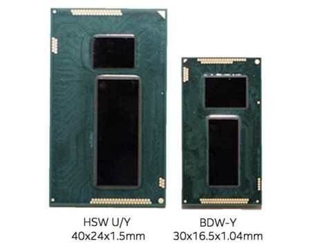 Haswell Y vs Broadwell Y size comparison
